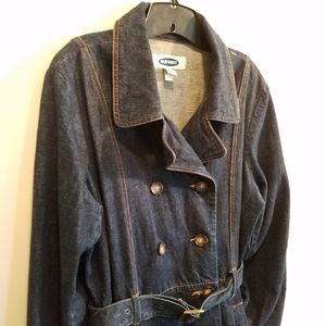 Womens vintage Old Navy trench coat - denim - XXL